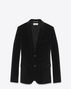 CLASSIC SINGLE-BREASTED  JACKET IN BLACK COTTON AND VISCOSE VELVET