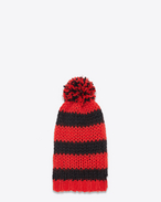 Classic Ski Hat in Red and Black Striped Wool, Mohair and Nylon