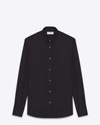 Camicia Signature nera in popeline di cotone con collo Yves