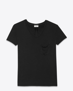 Classic Short Sleeve V-Neck Pocket T Shirt in Black Silk Jersey