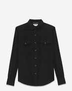 CLASSIC WESTERN SHIRT IN Black Twill