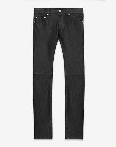 SAINT LAURENT Original Low Waisted Skinny Jean In Black Leather