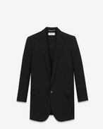 CLASSIC SINGLE-BREASTED LONG TUBE JACKET IN BLACK VIRGIN WOOL