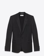 Iconic Le Smoking Jacket in Black Grain De Poudre Textured Wool