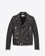 Classic Motorcycle Jacket in Black and Beige Leather