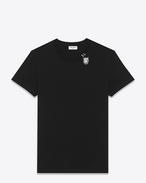 Short Sleeve T-Shirt in Black Tiger Head Printed Cotton Jersey