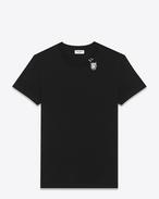 T-shirt à manches courtes en jersey de coton noir à imprimé tête de tigre ivoire