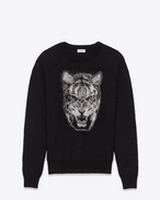 Crewneck Sweater in Black and ivory Tiger Head Woven Mohair, Polyamide and Wool Jacquard