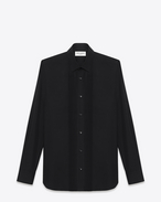 signature yves collar evening shirt in black cotton poplin