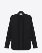 chemise de soirée à col yves en popeline de coton noire