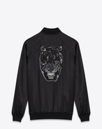 tiger head embroidered oversized teddy jacket in black satin viscose