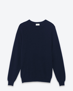 classic saint laurent crew neck sweater in navy blue cashmere
