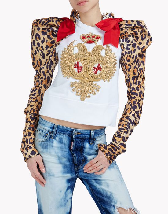 leopard heraldic sweatshirt top wear Woman Dsquared2
