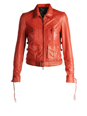 Diesel - LASKY Red Leather Jacket :  leather red leather jacket diesel lasky leather jacket red jacket