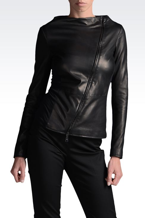 Emporio Armani Women Leather Jacket - Emporio Armani Official Online Store