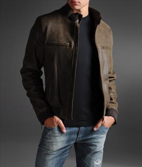 Armani Jeans Men Leather Jacket - Armani Jeans Official Online Store
