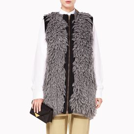 STELLA McCARTNEY, Vest, Grey Mélange Fur Effect Sleeveless Full Zip Jacket