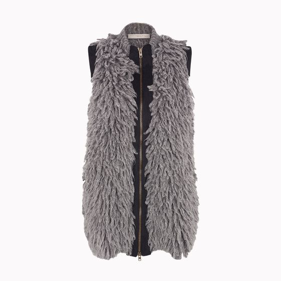 Stella McCartney, Grey Mélange Fur Effect Sleeveless Full Zip Jacket