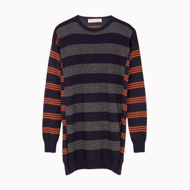 STELLA McCARTNEY, Round neck, Patched Stripes Crew Neck Dress