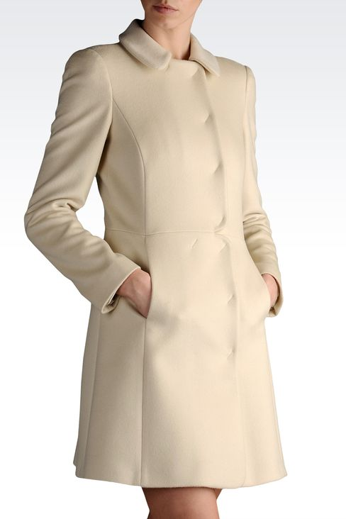 coat in cashmere godet line: Double-breasted coats Women by Armani - 1