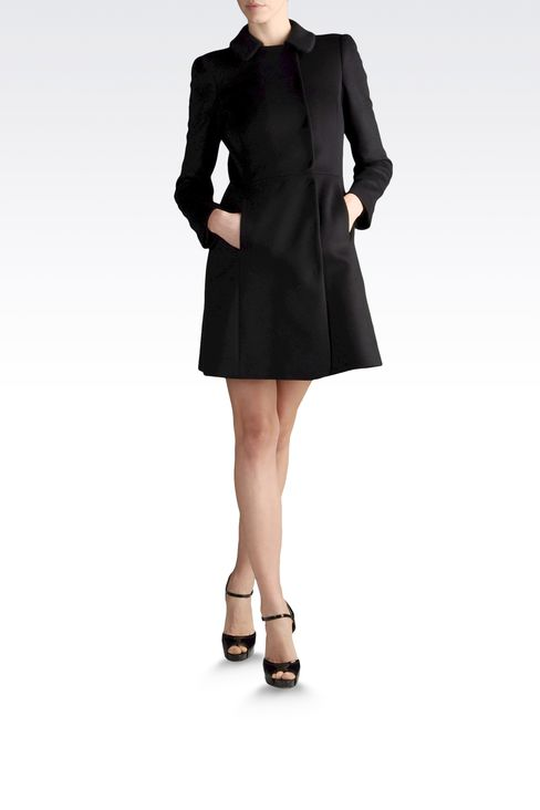 coat in cashmere godet line: Double-breasted coats Women by Armani - 2
