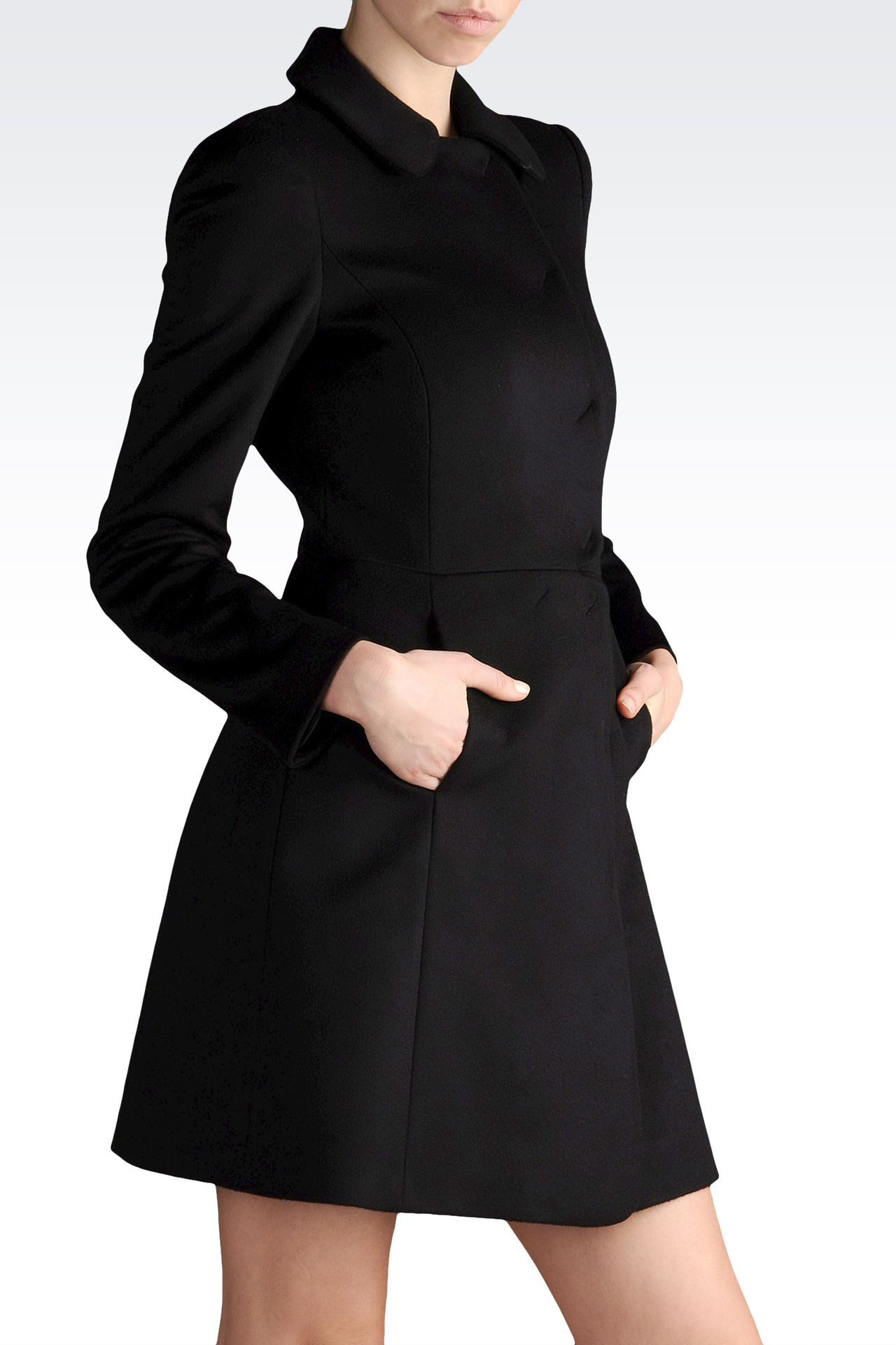 coat in cashmere godet line: Double-breasted coats Women by Armani - 0