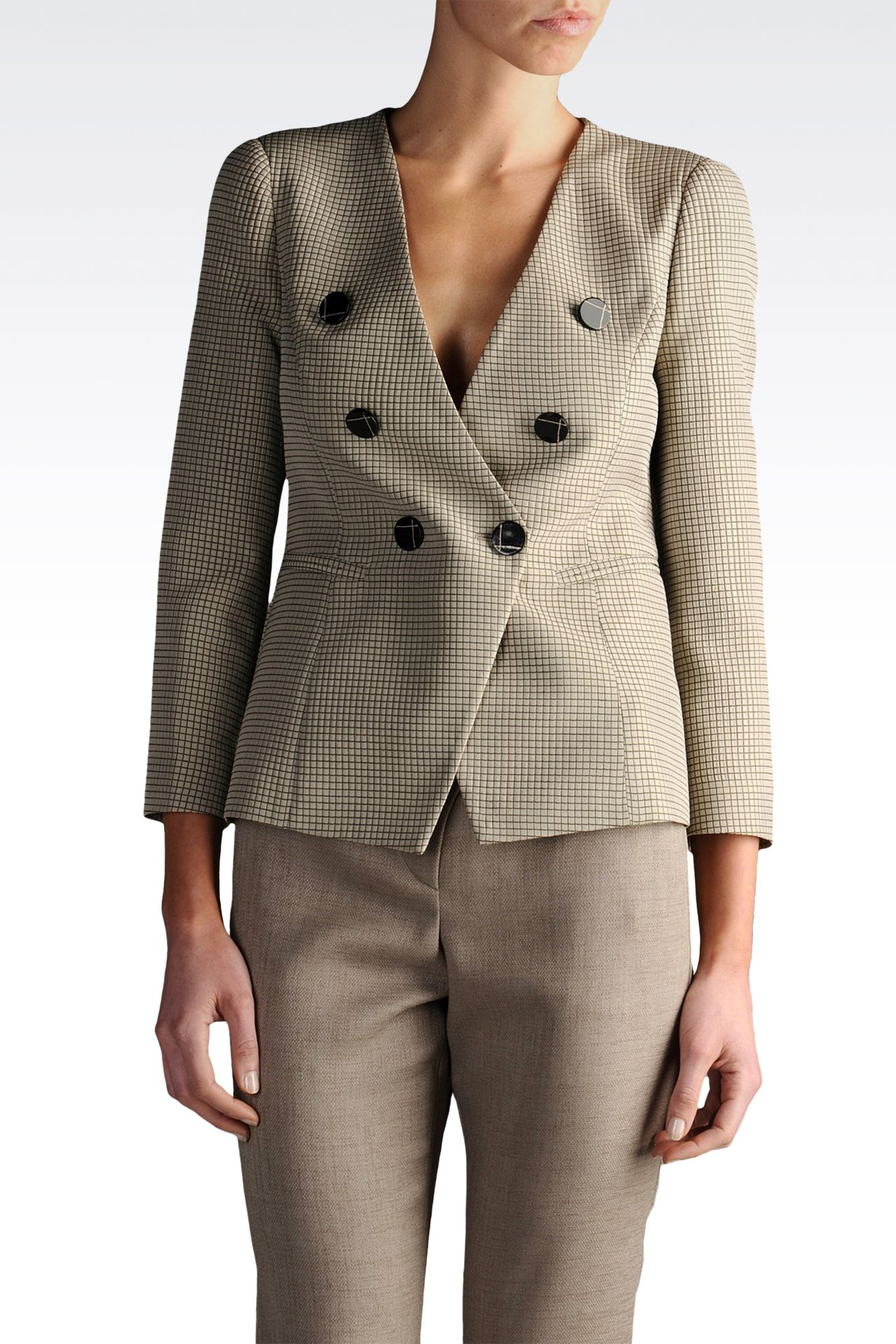 three quarter sleeve jacket check pattern: Double-breasted jackets Women by Armani - 0