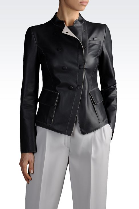 Armani Collezioni Women Leather Jacket - DOUBLE BREASTED LEATHER JACKET WITH MANDARIN COLLAR Armani Collezioni Official Online Store