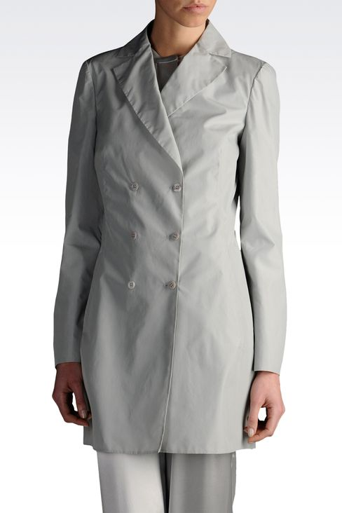 double-breasted overcoat in silk blend: Double-breasted coats Women by Armani - 1