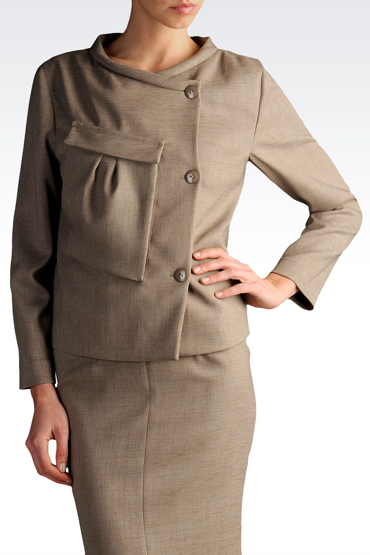 three-button jacket with asymmetric fastening: Three buttons jackets Women by Armani - 0