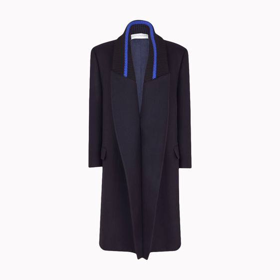 Stella McCartney, Cappotto Donata in Twill di Lana Astro Navy