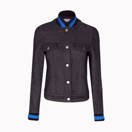 STELLA McCARTNEY, Short , Dark Denim Jacket with woven cuffs