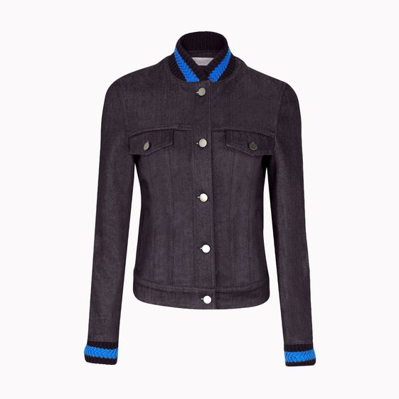 Stella McCartney, Dark Denim Jacket with woven cuffs