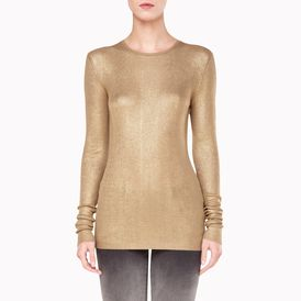 STELLA McCARTNEY, Round neck, Metallic Gold Long Sleeved Top