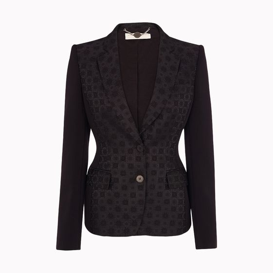 Stella McCartney, Black Bonded Brocade Fellini Jacket