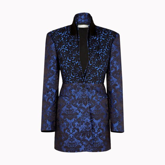 Stella McCartney, Deep Egyptian Blue Back Silk Jacquard Tina Outerwear
