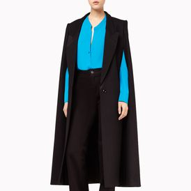 STELLA McCARTNEY, Cape, Black Brush Wool Stretch Becker Evening Collection Cape
