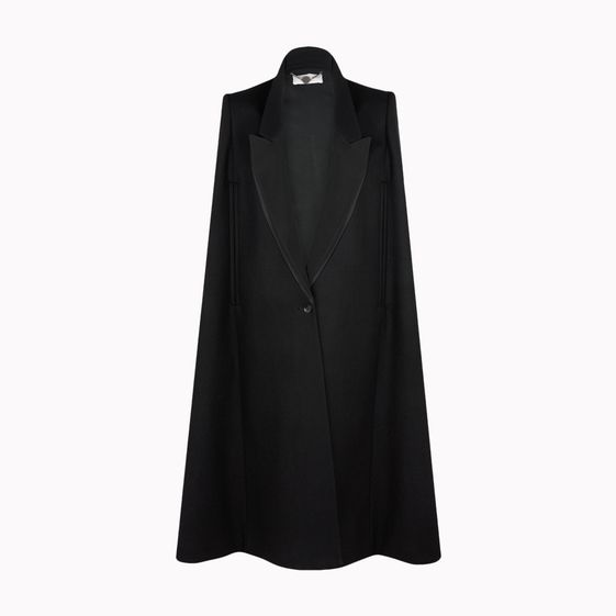 Stella McCartney, Black Brush Wool Stretch Becker Evening Collection Cape