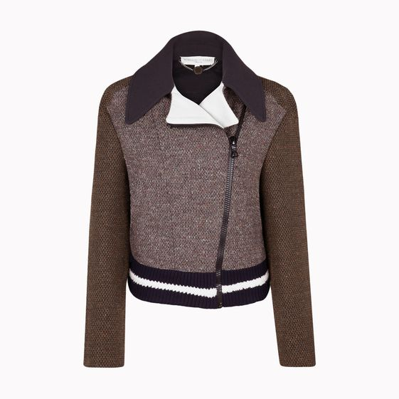 "Stella McCartney, Dunkle, vielfarbige Jacke ""Nathalie"" aus Stretch-Tweed."