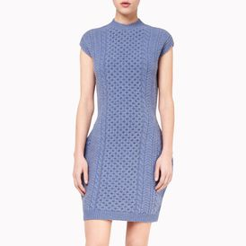 STELLA McCARTNEY, Mini, Blue Mélange Felted Forms Sleeveless Dress