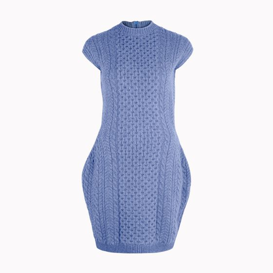 Stella McCartney, rmelloses Kleid aus blau meliertem Filz.