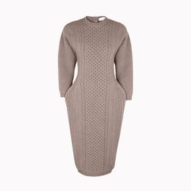 STELLA McCARTNEY, Midi, Smoke Mélange Felted Forms Crew Neck Dress