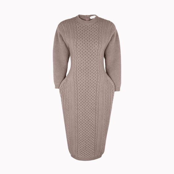 Stella McCartney, Smoke Mélange Felted Forms Crew Neck Dress