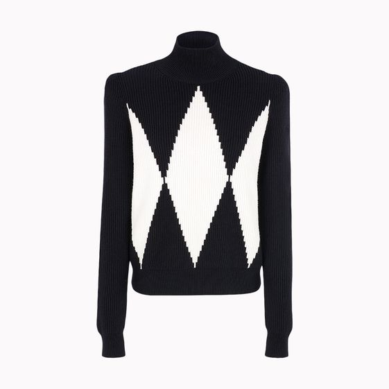 Stella McCartney, Rollkragenpullover mit groflchigem Rautenmuster
