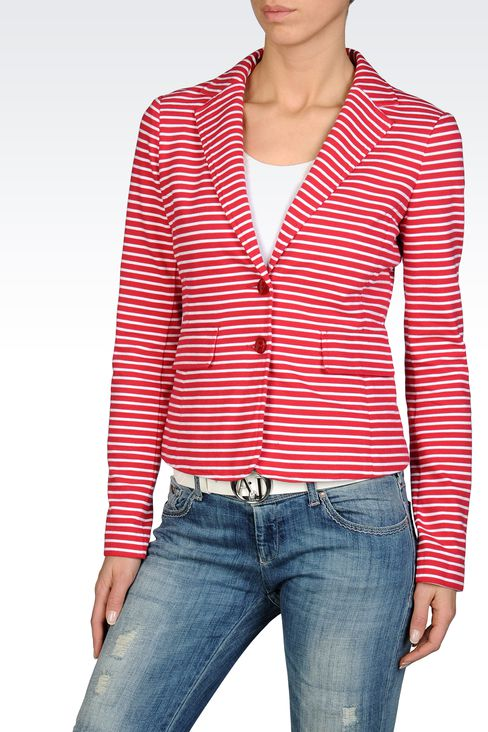 TWO-BUTTON BLAZER IN STRIPED INTERLOCK COTTON: Two buttons jackets Women by Armani - 1
