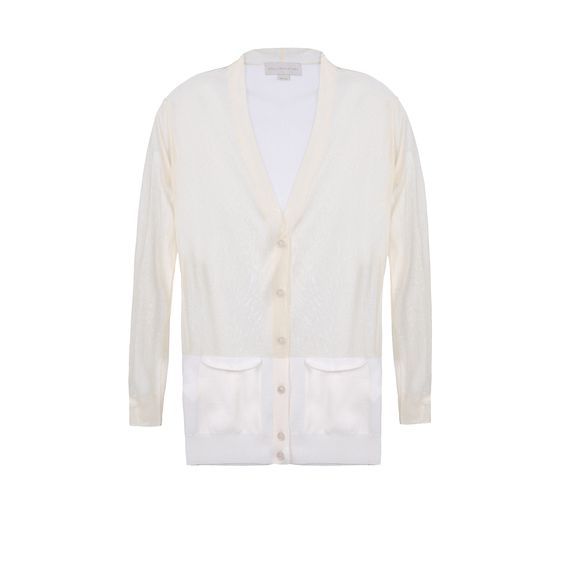 Stella McCartney, Cardigan avec col en V et empiècement transparent
