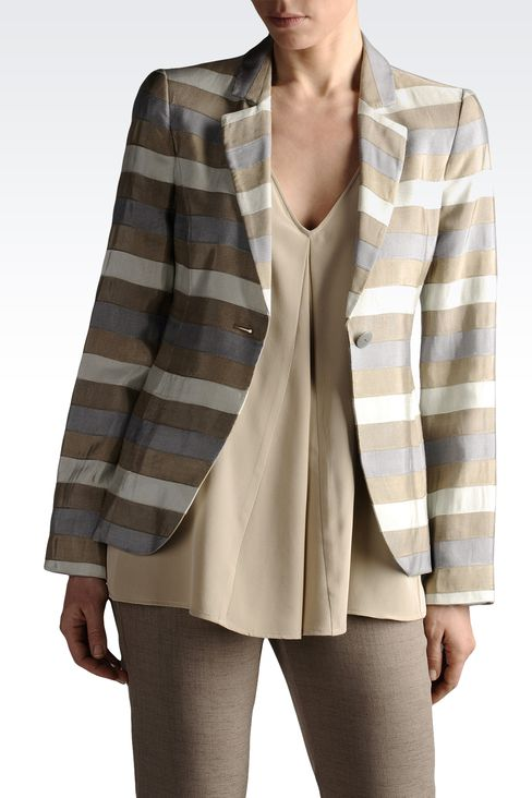 jacquard blazer with double rear vent: One button jackets Women by Armani - 1