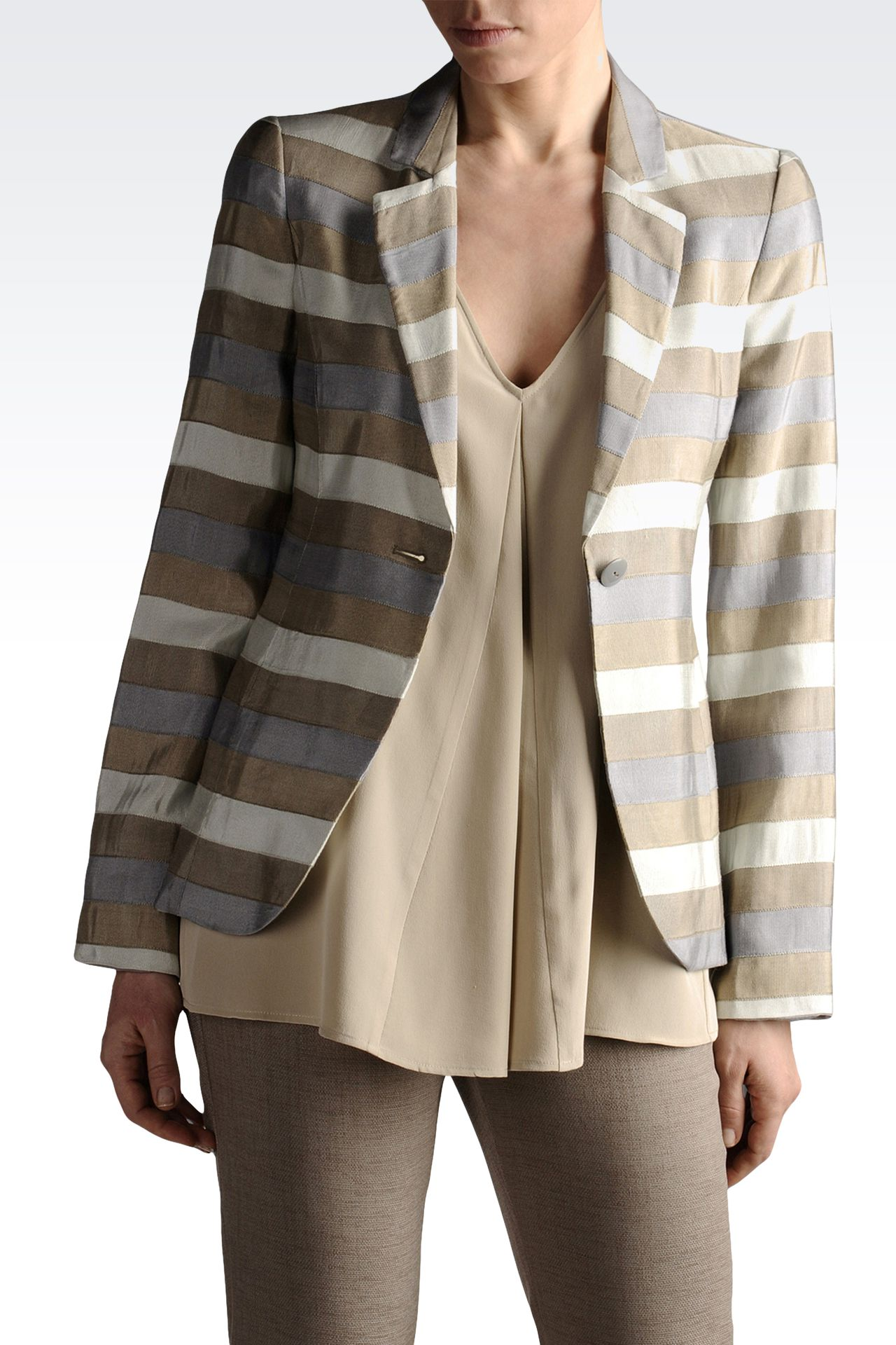 jacquard blazer with double rear vent: One button jackets Women by Armani - 0