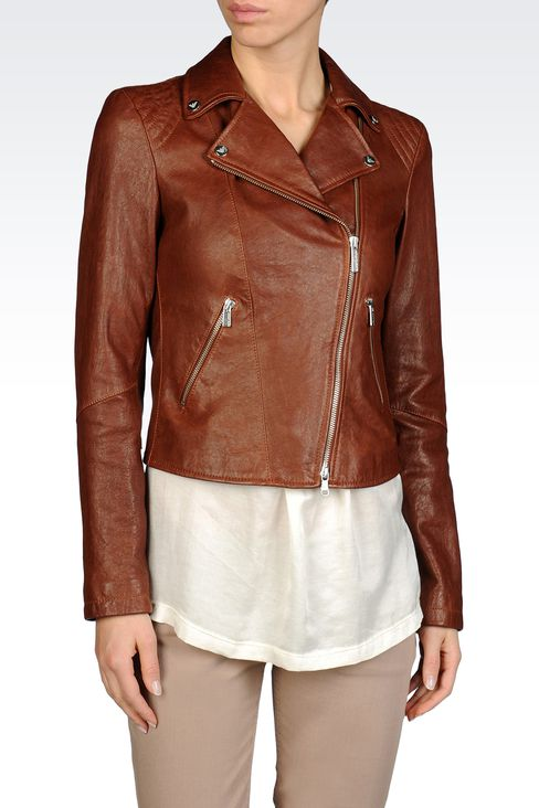 JACKET IN HAMMERED LEATHER NOTCH LAPELS: Leather jackets Women by Armani - 1