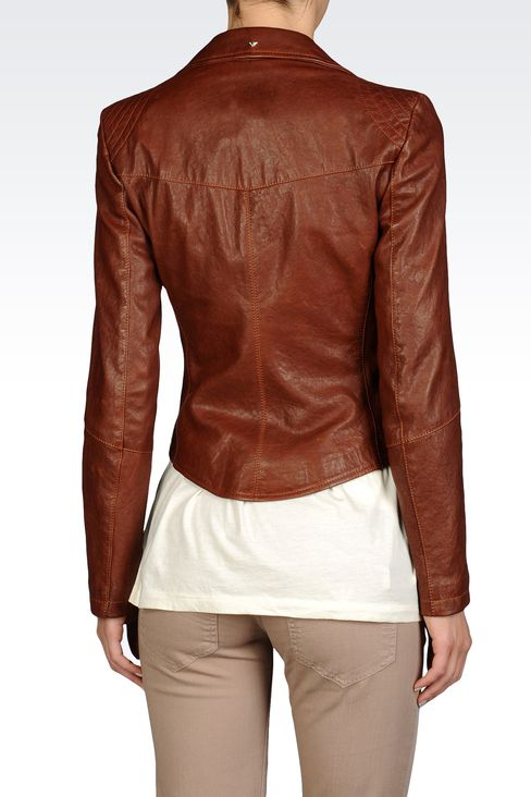 JACKET IN HAMMERED LEATHER NOTCH LAPELS: Leather jackets Women by Armani - 2